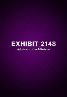 Exhibit 2148: Advice to the Minister