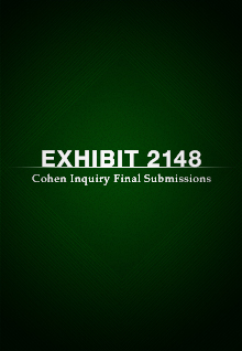 Exhibit 2148: Cohen Inquiry Final Submissions