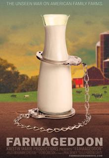 Farmageddon: Film Poster: A graphic of a tall glass carafe of milk with handcuffs on the bottom of it and the other cuff around the snout, against an idyllic farmhouse background with cows and animals