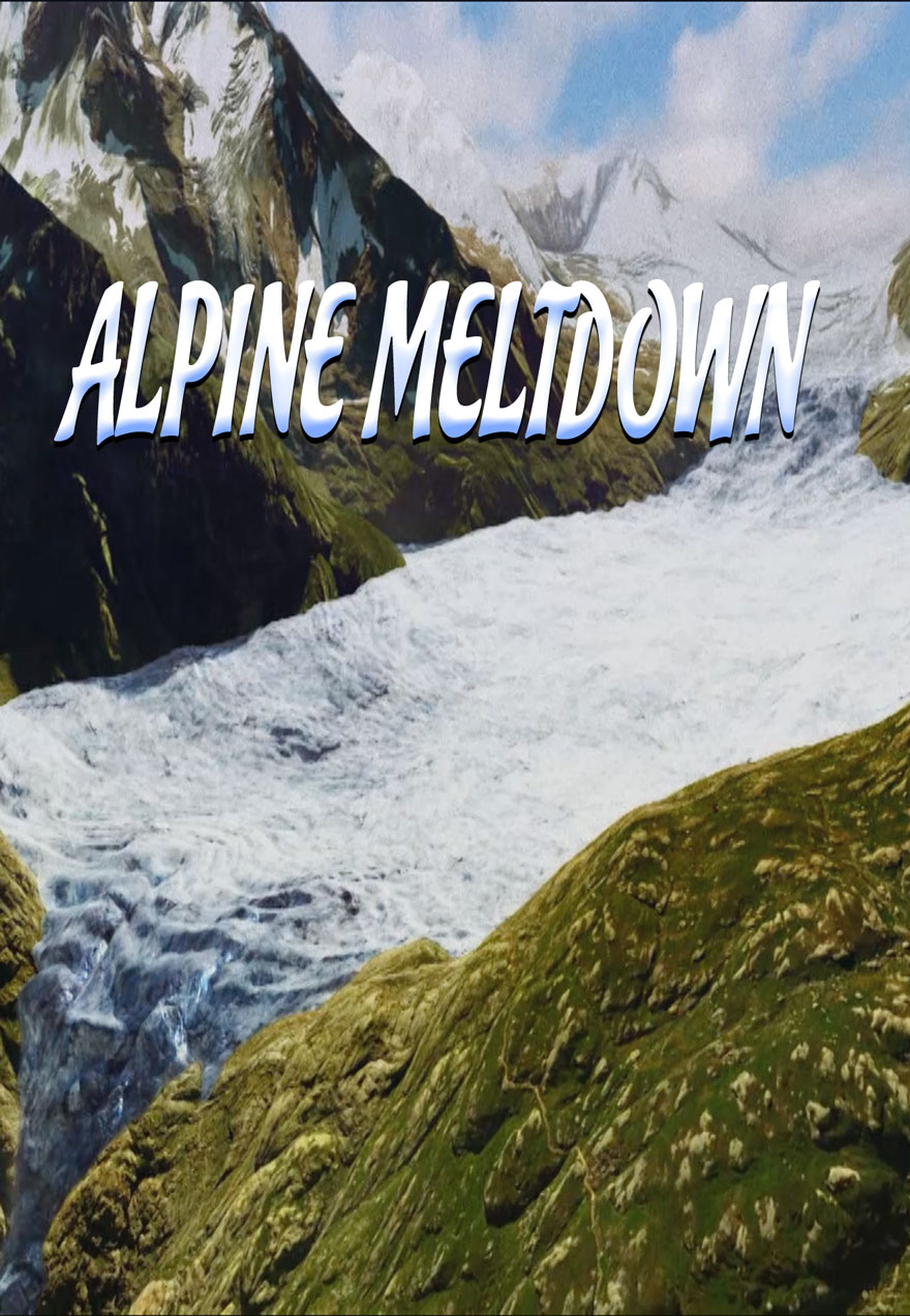 Poster of a receding glacier serves as a link to the Alpine Meltdown film page