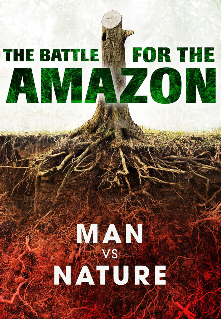 Poster of a tree stump serves as a link to The Battle for the Amazon film page