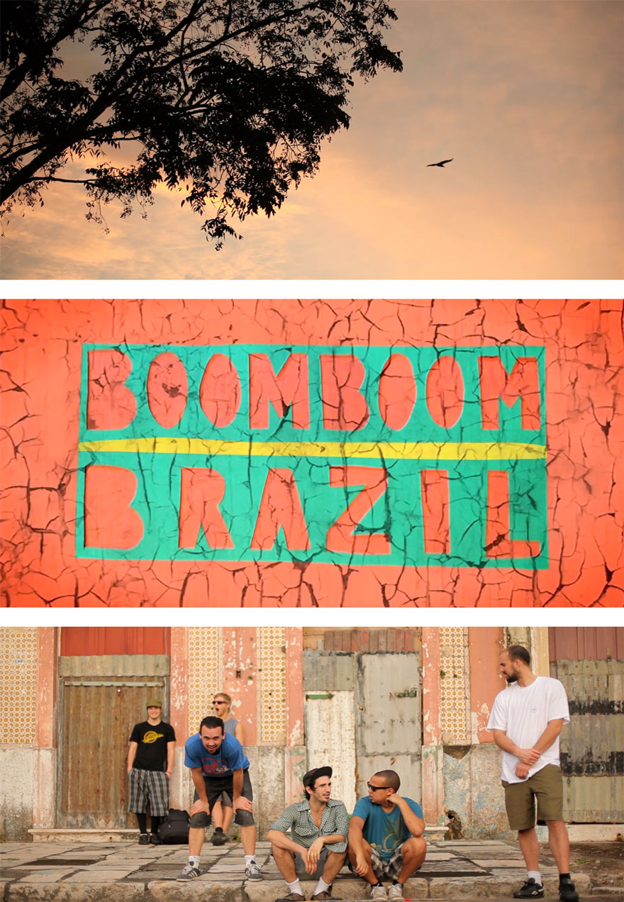 Poster of the band sitting on a sidewalk serves as a link to the Boom Boom Brazil film page