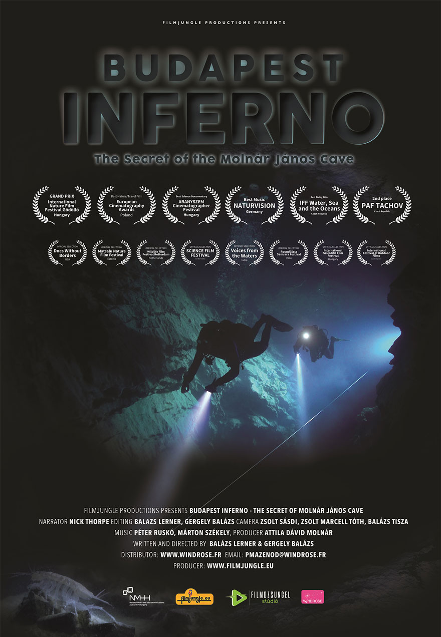 Poster of cave divers serves as a link to the Budapest Inferno film page