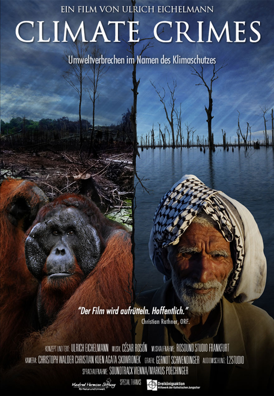 Poster of orangutans and a flooded forest serves as a link to the Climate Crimes film page