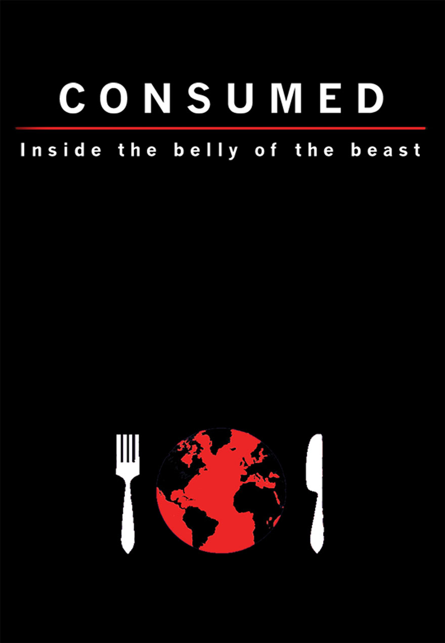 Poster of the earth as a plate serves as a link to the Consumed film page