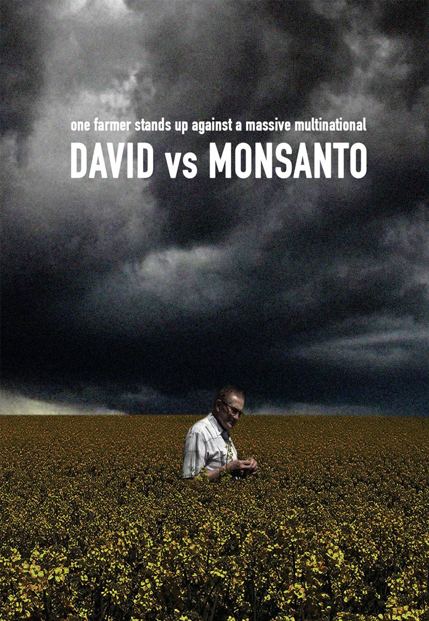 Poster of a lone man in a field under a dark sky serves as a link to the David versus Monsanto film page