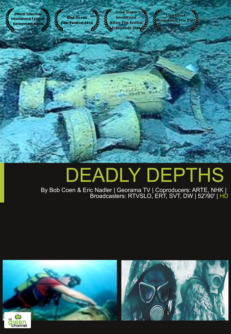 Poster of toxic waste on the ocean bottom serves as a link to the Deadly Depths film page