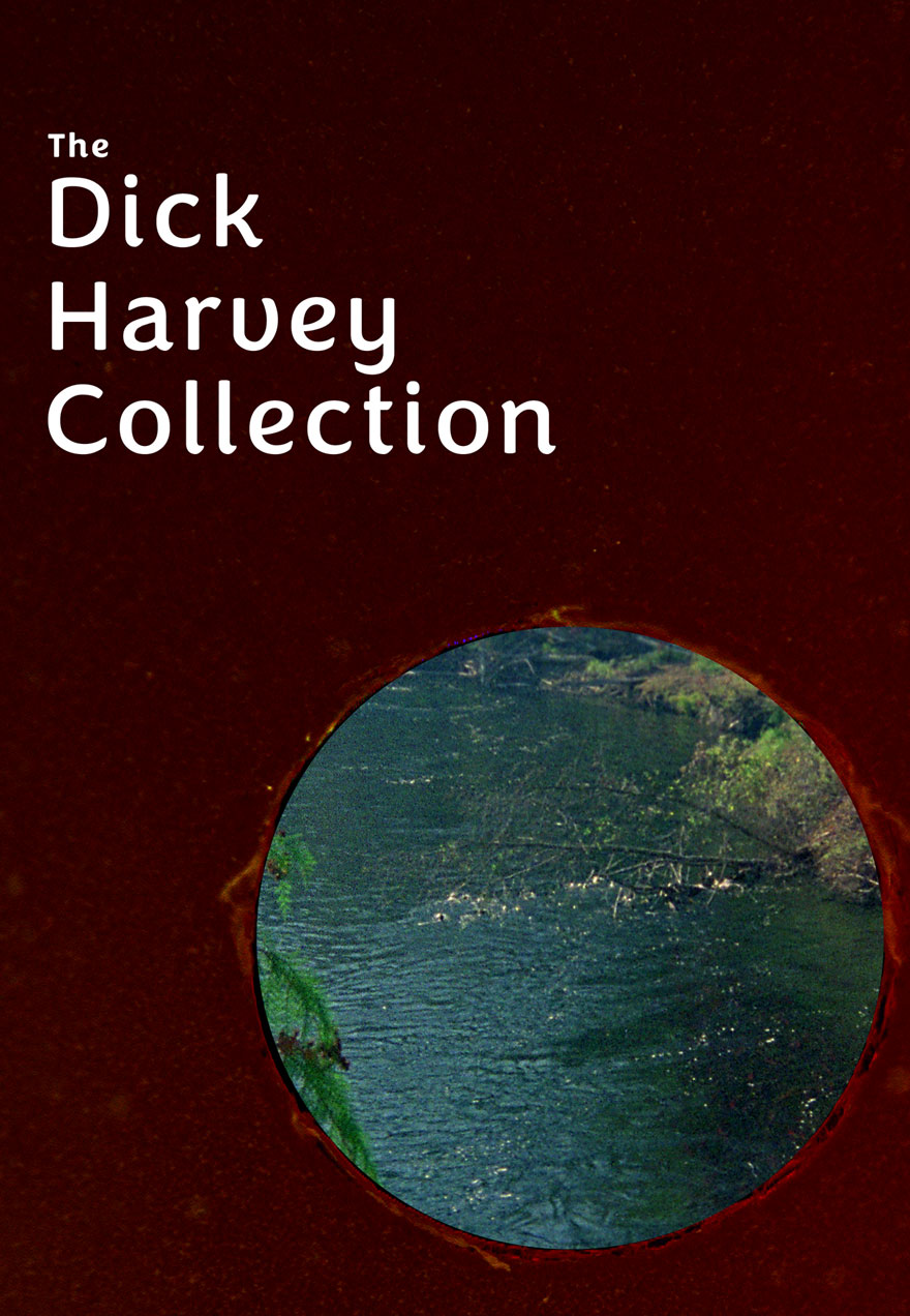 Poster with a scarlet background serves as a link to The Dick Harvey Collection series page
