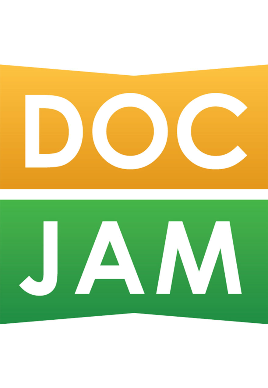 Poster of the title on yellow and green serves as a link to the Doc Jam series page