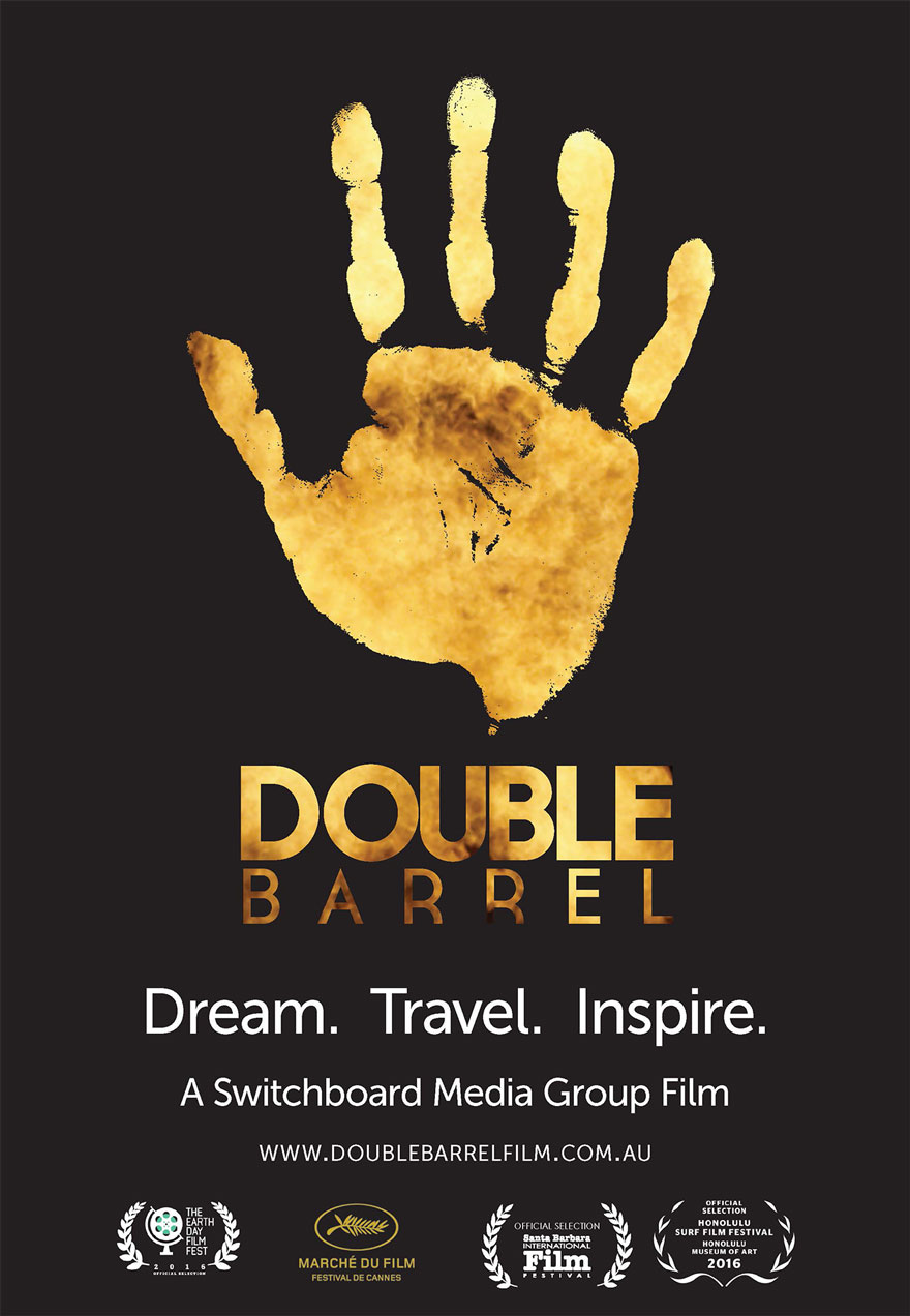 Poster of an open hand serves as a link to the Double Barrel film page