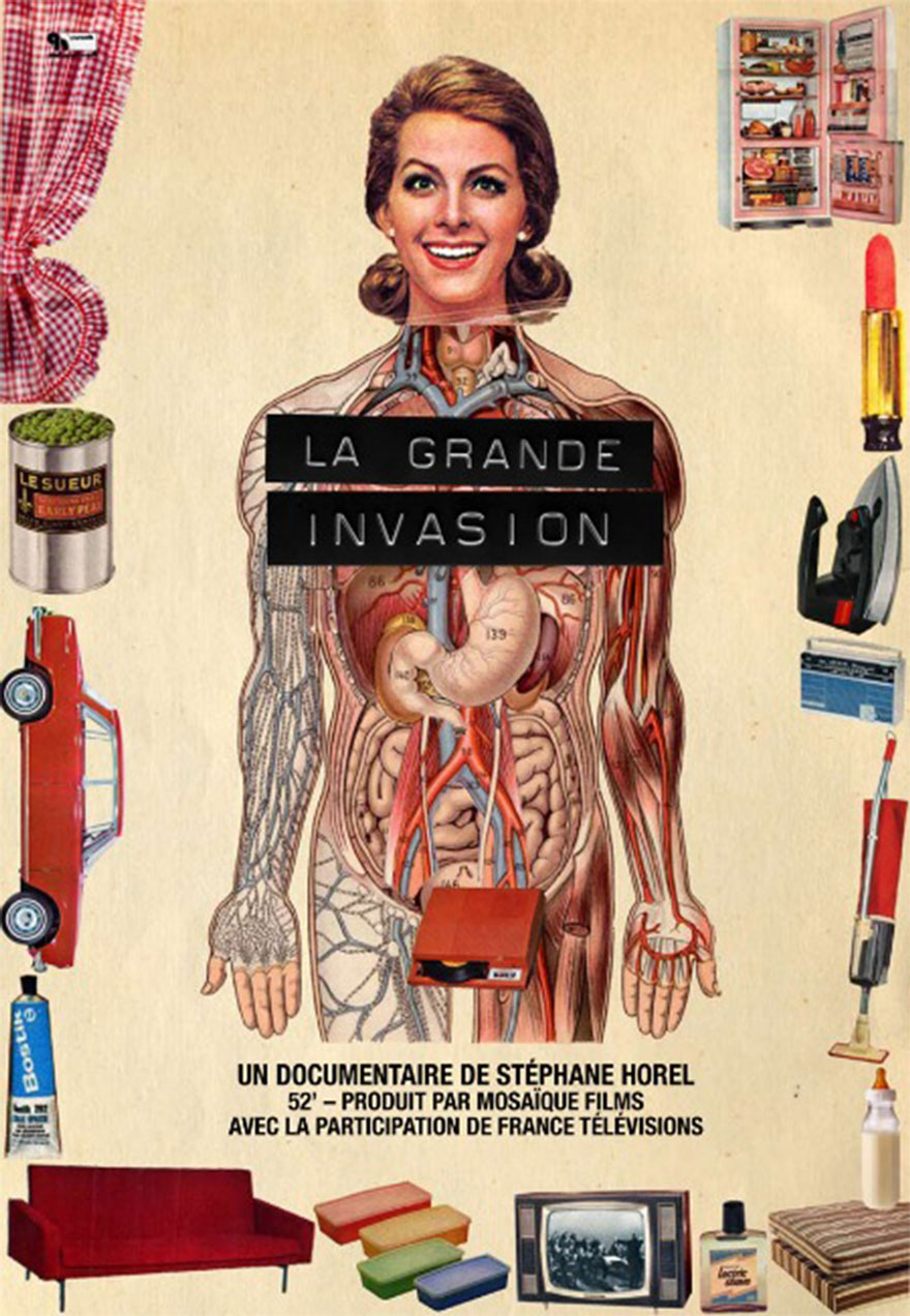 Poster of a human antomy and consumer goods serves as a link to La Grande Invasion film page