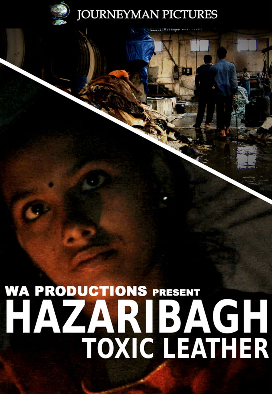Poster of a leather sweat shop serves as a link to the Hararibagh toxic leather film page