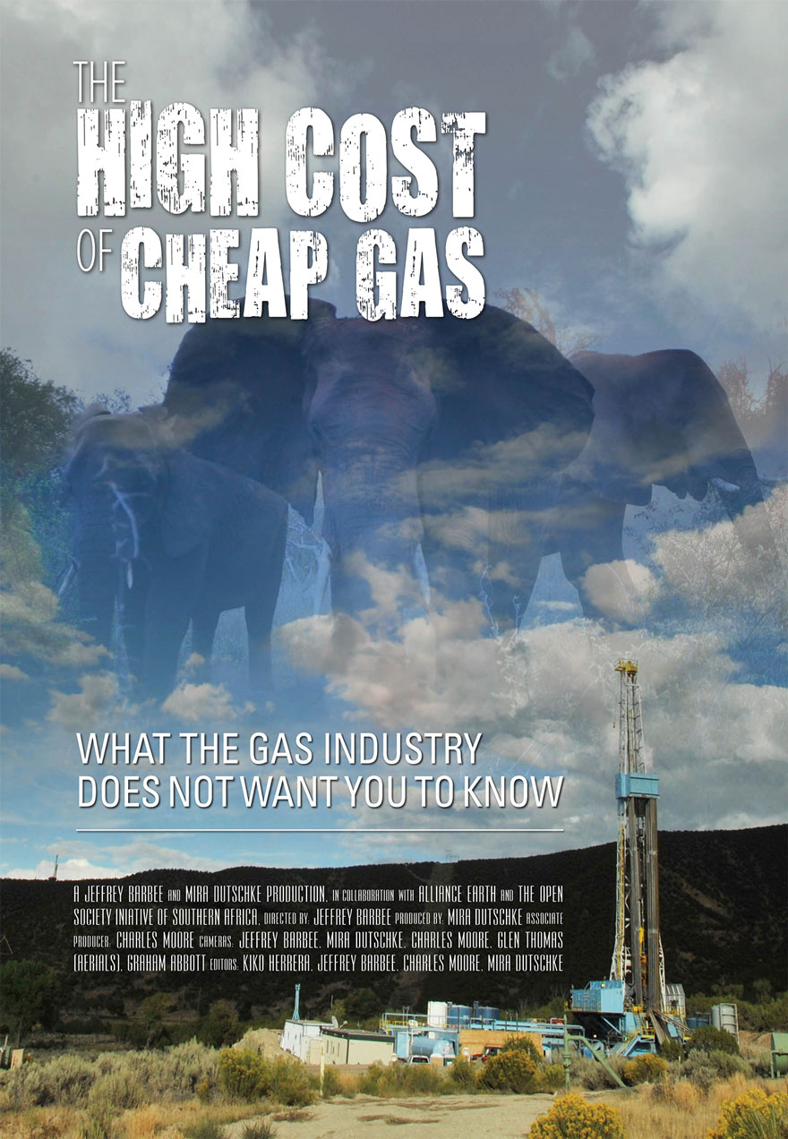 Poster of an oil rig and elephants serves as a link to The High Cost of Cheap Gas film page