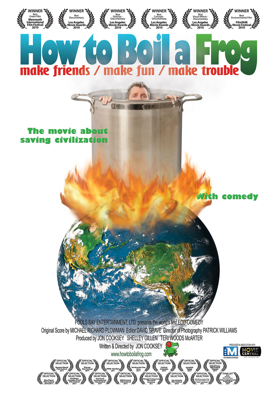 Poster of a man boiling in a pot of water serves as a link to How to Boil a Frog film page