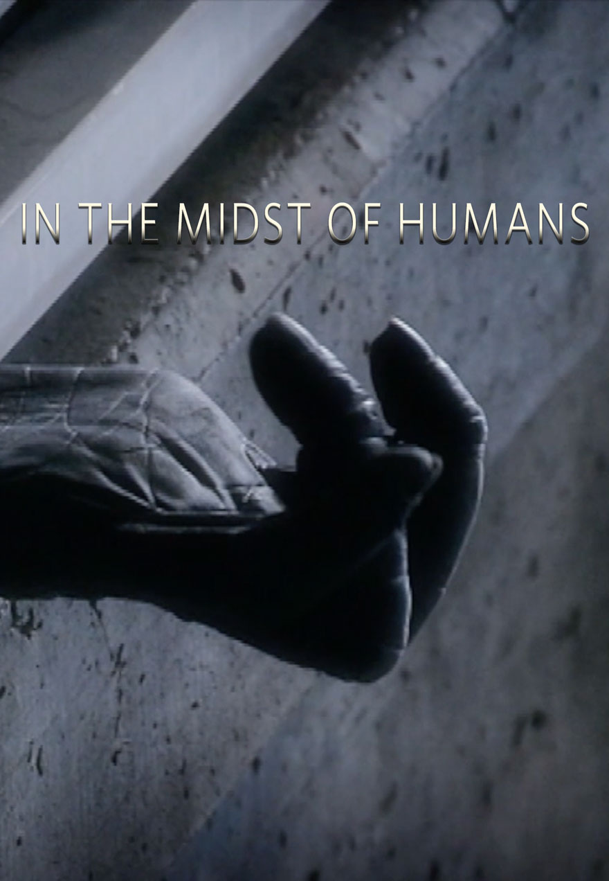 Poster of a chimpanzee hand reaching through bars serves as a link to In The Midst of Humans film page