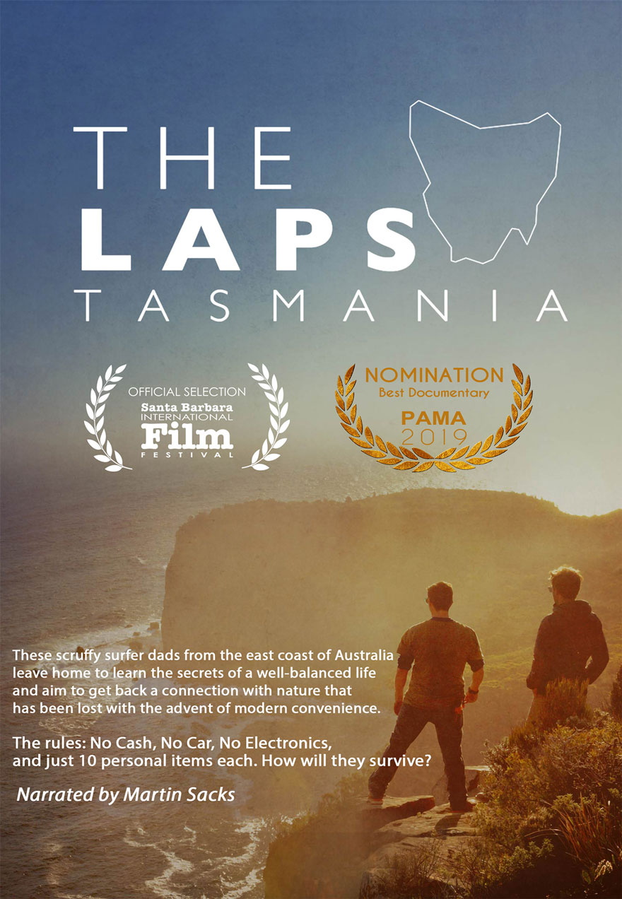 Poster of two men looking at the ocean serves as a link to The Laps Tasmania film page