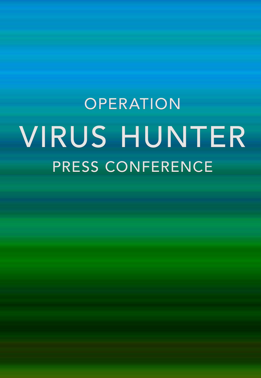 Poster of Blue and Green serves as a link to the Operation Virus Hunter Press Conference film page