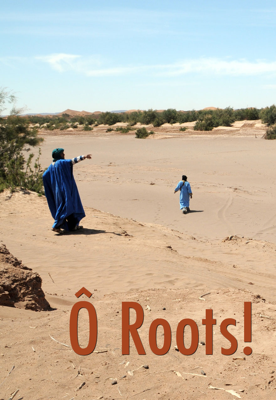 Poster of a man pointing over a dry riverbed serves as a link to the O Roots film page