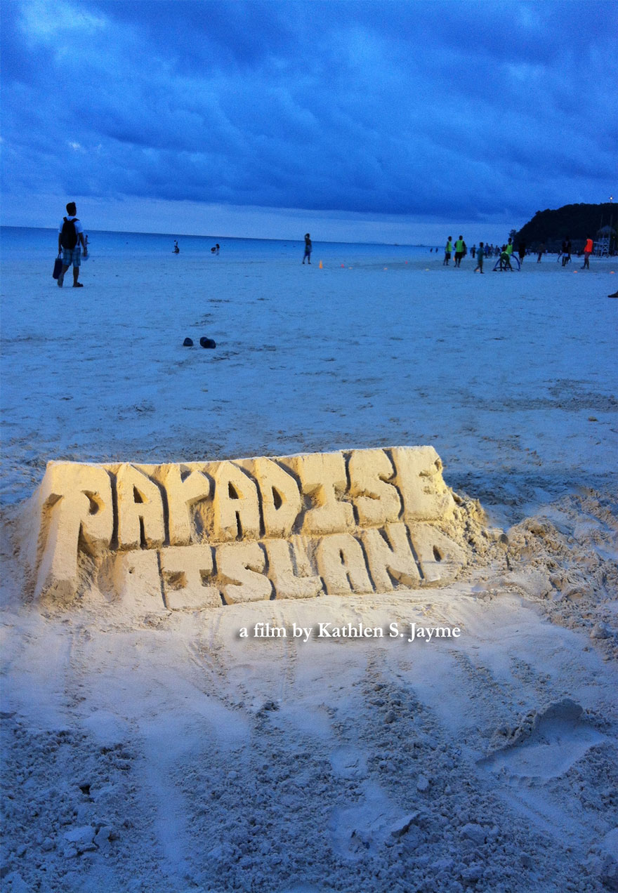 Poster of a sand castle with the film's name serves as a link to the Paradise Island film page