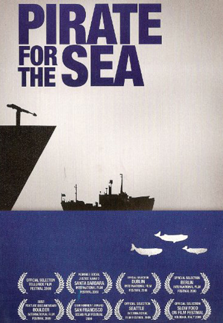 Poster of a protest ship serves as a link to the Pirate for the Sea film page