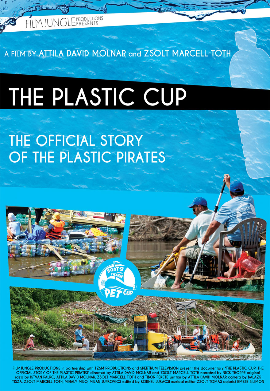 Poster of plastic pirates cleaning a river serves as a link to The Plastic Cup film page