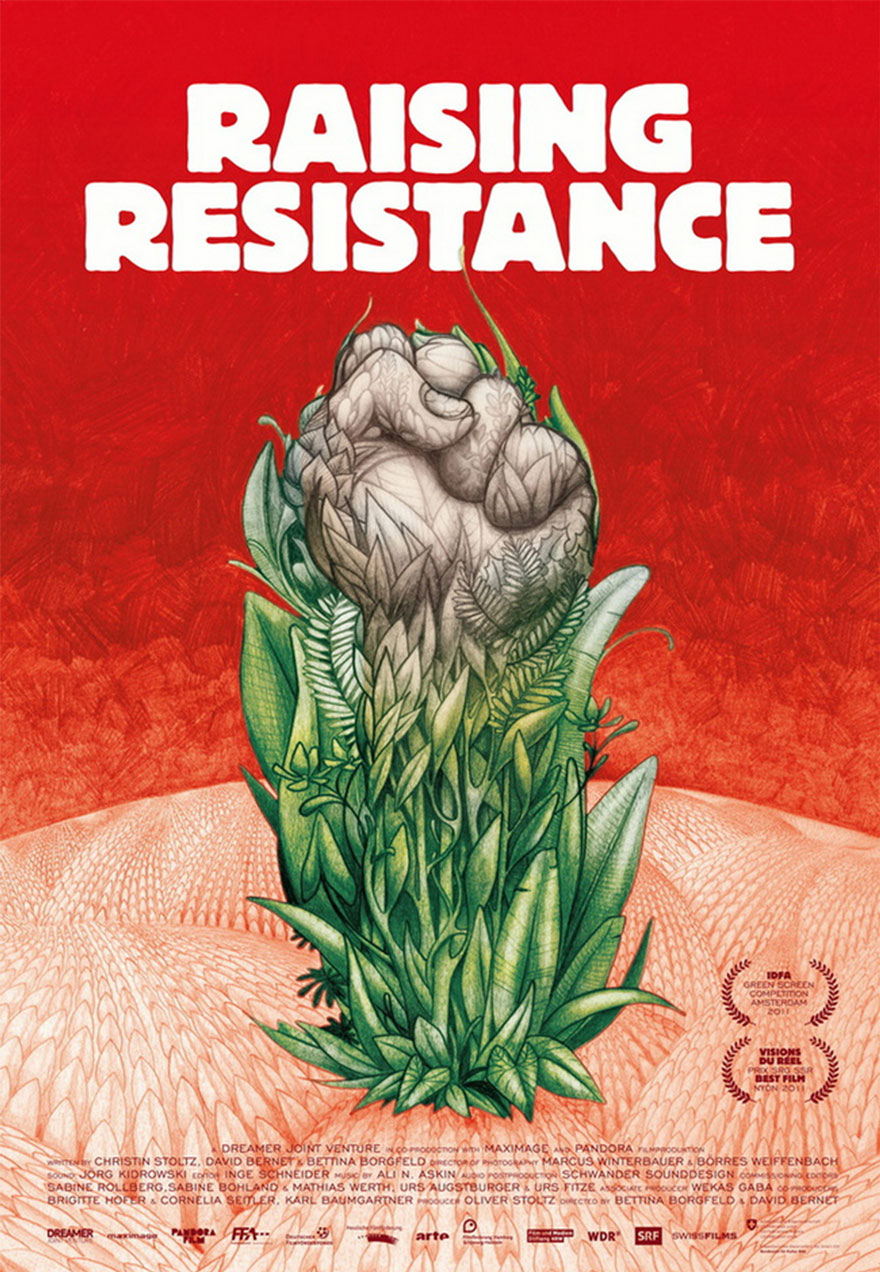 Poster of a fist emerging from plants serves as a link to the Raising Resistance film page