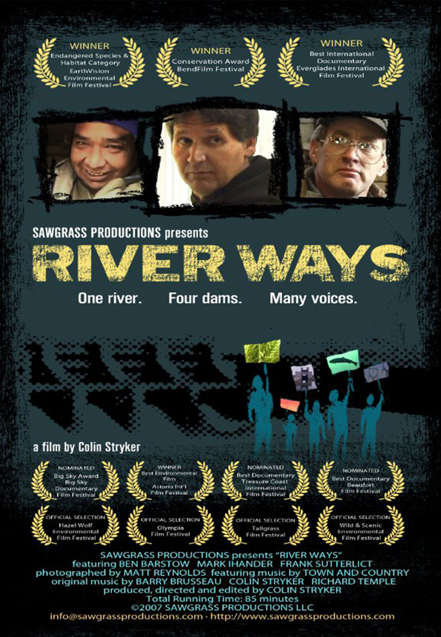 Poster of awards laurels serves as a link to the River Ways film page