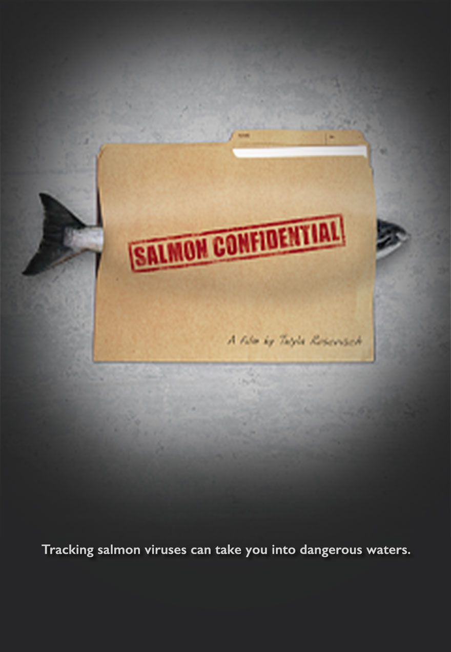 Poster of a salmon inside a file folder serves as a link to the Salmon Confidential film page