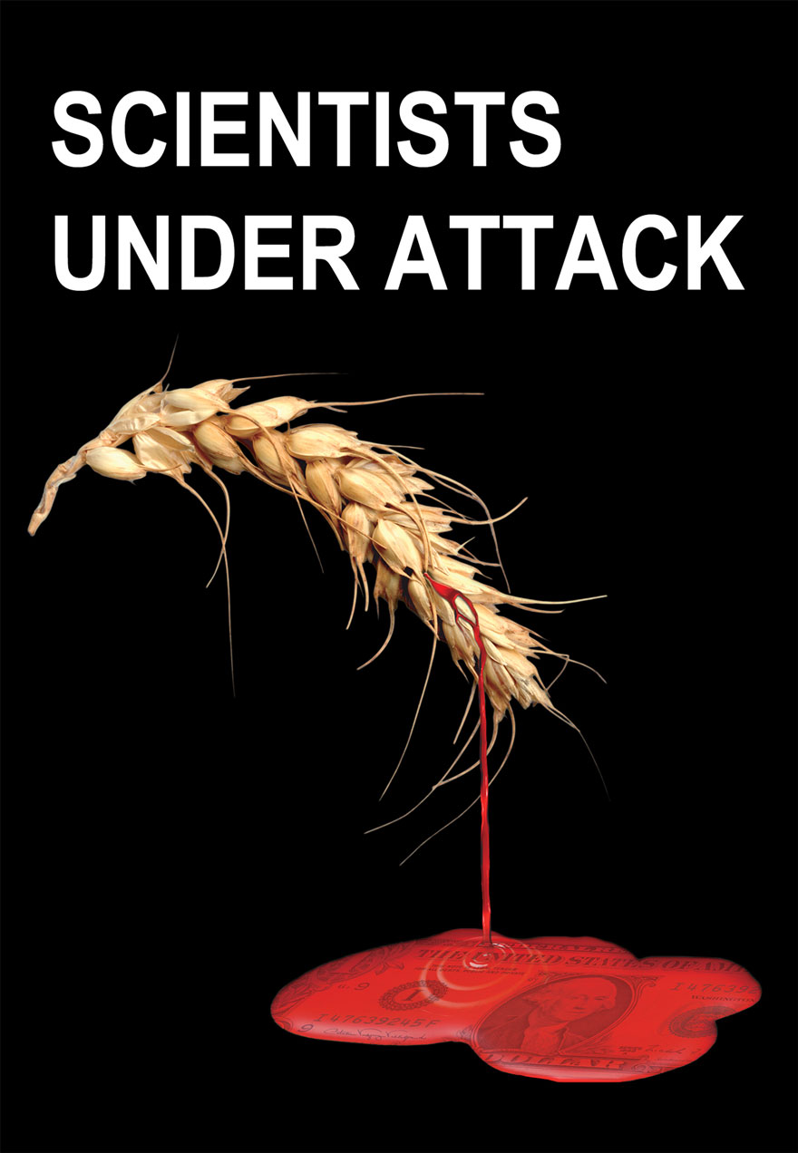 Poster of a wheat head bleeding serves as a link to the Scientists Under Attack film page