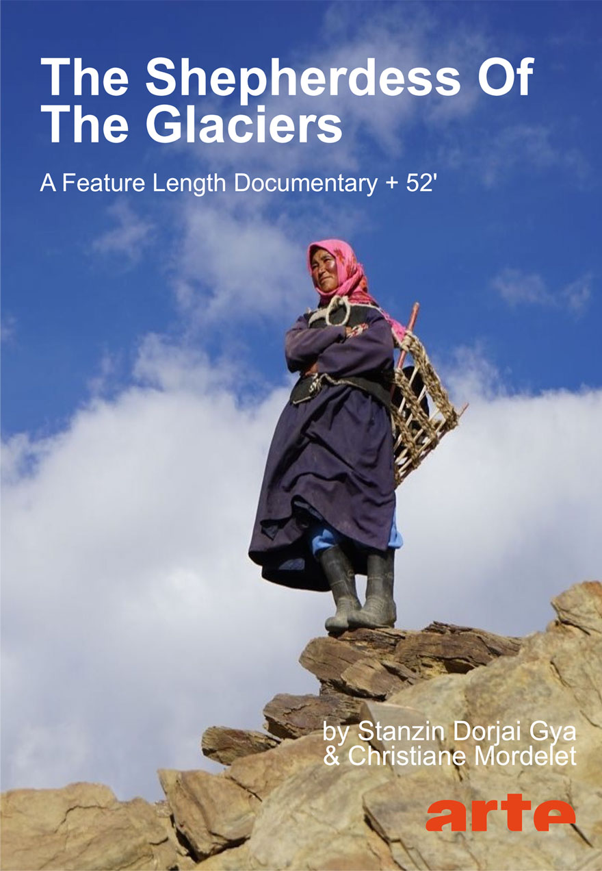 Poster of a woman standing on a rocky outcrop serves as a link to The Shepherdess of The Glaciers film page