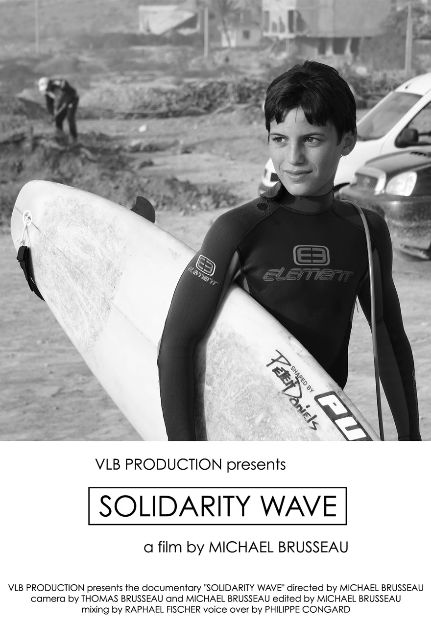 Poster of a woman carrying a surf board serves as a link to the Solidarity Wave film page