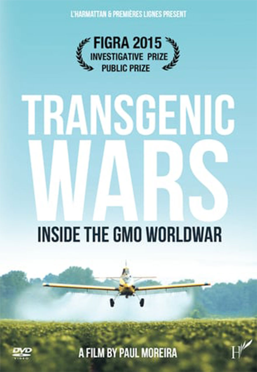 Poster of a plane spraying a crop serves as a link to the Transgenic Wars film page