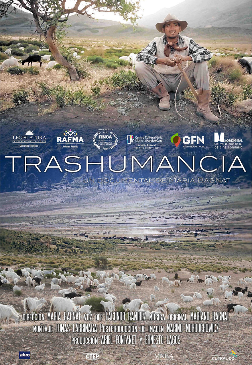 Poster of a goat herder serves as a link to the Trashumancia film page