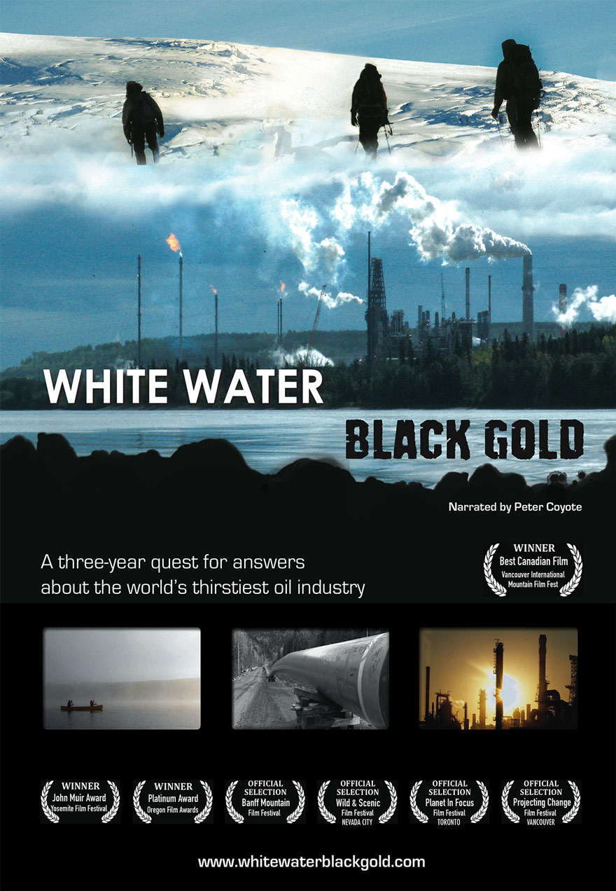Poster of oil refineries serves as a link to the White Water Black Gold film page