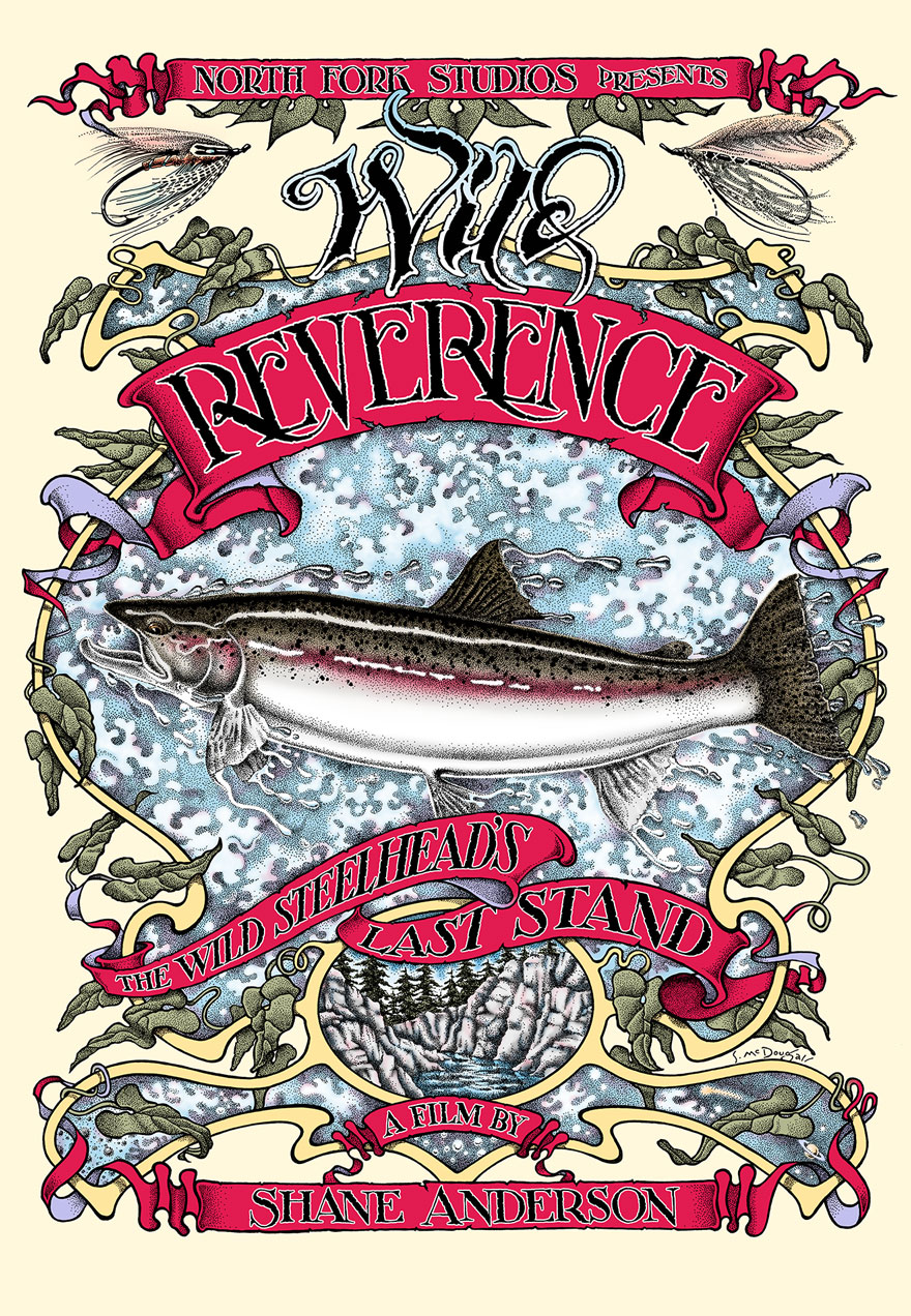 Wild Reverence posters of a steelhead drawing acts as a link to the film page