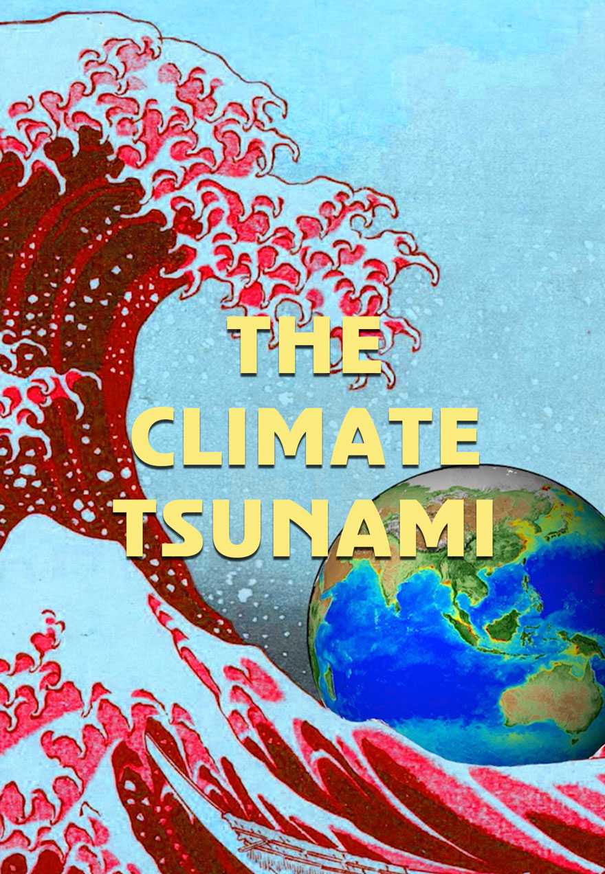 Poster of a wave hitting earth serves as a link to The Climate Tsunami film.