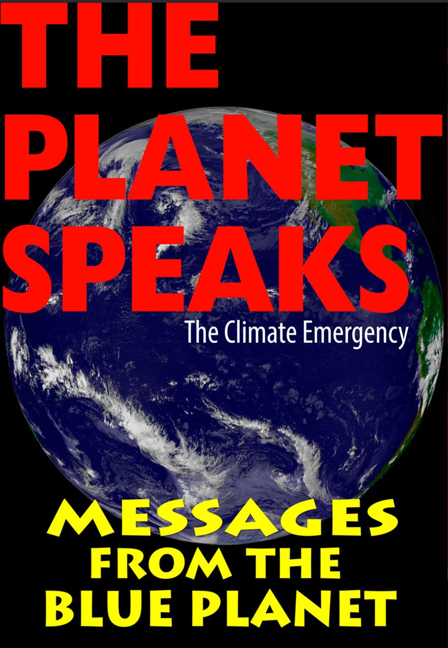 Poster of the earth serves as a link to The Planet Speaks film.