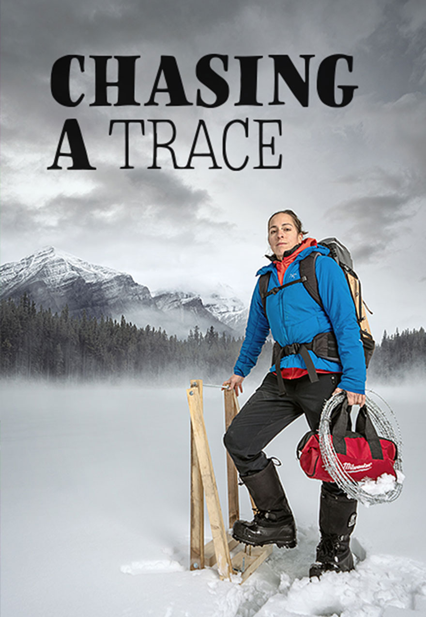 Poster of a female hiker against a backgrop of forest and mountains with the film title Chasing A Trace that acts as a link to the film page on The Green Channel