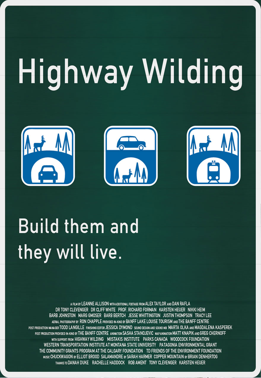 Poster of traffic graphics of different highway crossing images with the film title Highway Wilding that acts as a link to the film page on The Green Channel