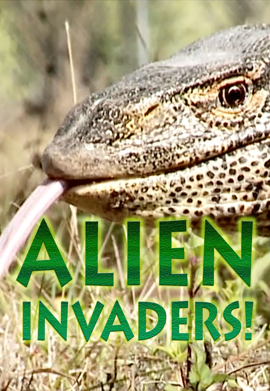 Poster with a lizard's head serves as a link to the Alien Invaders film page